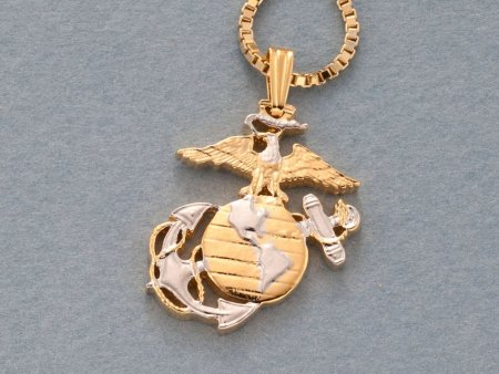"Marine Military Pendant and Necklace Jewelry, Marine Challenge Coin hand Cut, 14Kart Gold  and Rhodium Plated, 1"" in Diameter, ( # 793 )"