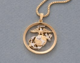 "Marine Military Pendant and Necklace, Marine Challenge Coin Hand Cut, 14 Karat Gold and Rhodium Plated, 1 "" in Diameter , ( # 792 )"