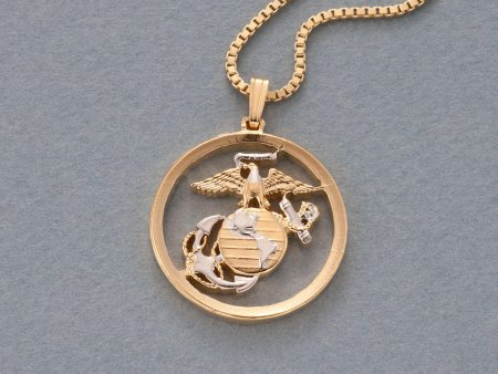 """Marine Military Pendant and Necklace, Marine Challenge Coin Hand Cut, 14 Karat Gold and Rhodium Plated, 1 """" in Diameter , ( # 792 )"""