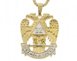 "Masonic Emblem Pendant and Necklace, 32 Degree Masonic Medallion Hand Cut, 14 Karat Gold and Rhodium Plated,1"" in Diameter, ( # 852 )"