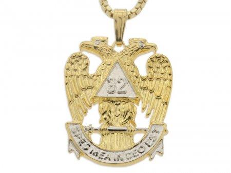 "Masonic Emblem Pendant and Necklace, 32 Degree Masonic Medallion Hand Cut, 14 Karat Gold and Rhodium Plated,1"" in Diameter, ( # 852 )"