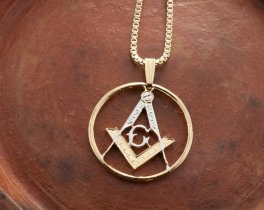 "Masonic Emblem Pendant and Necklace, Masonic Medallion Hand Cut, 14 Karat Gold and Rhodium Plated, 1"" in Diameter, ( # 886 )"