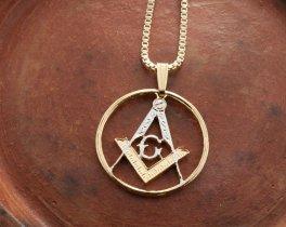 "Masonic Emblem Pendant and Necklace, Masonic Medallion Hand Cut, 14 Karat Gold and Rhodium Plated, 1"" in Diameter, ( # 886 )"