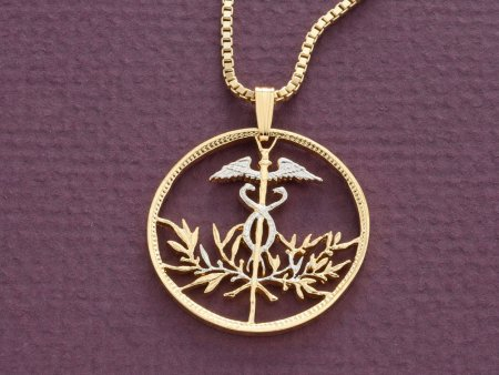 "Medical Emblem Pemdant and Necklace, Hand Cut Bolivian Medical Emblem Coin, 1 1/8"" in Diameter, ( # 831 )"