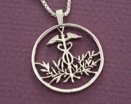 Medical Emblem Pendant, Medical Jewelry, Caduceus Necklace, Medical Emblem Necklace, Medical Gift Ideas, Cut Coin Jewelry, ( # 831S )
