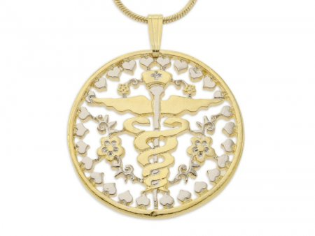 "Nurses Emblem Pendant and Necklace, Nurse Medical Emblem Medallion Hand Cut, 14 Karat Gold and Rhodium Plated, 1 1/8"" in Diameter, ( # 761 )"