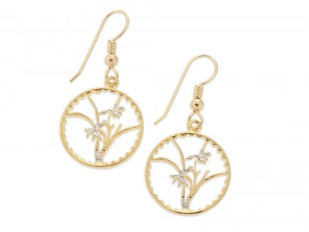 "Orchid ( Flower ) Earrings, Taiwan Orchid Coin Hand Cut, 14 Karat Gold and Rhodium plated, 3/4"" in Diameter, ( # 73E )"