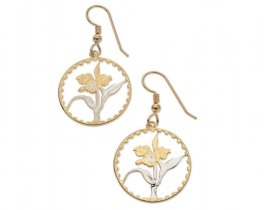 "Orchid ( Flower ) Earrings, Taiwan Orchid Coin Hand Cut, 14 Karat Gold and Rhodium plated, 7/8"" in Diameter, ( # 74E )"