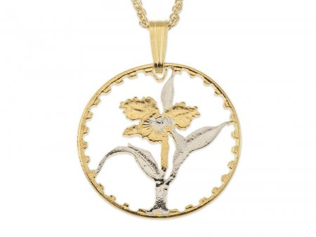 "Orchid Pendant and Necklace, Taiwan Coin Hand Cut, 14 Karat Gold and Rhodium Plated, .80 "" in Diameter, ( # 74 )"