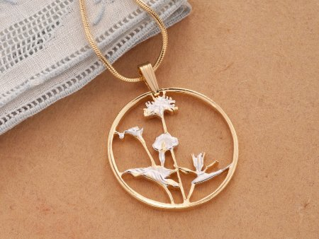Orchid Pendant, Orchid Necklace, Floral Jewelry, Flower Jewelry, Cut Coin Jewelry, Jewelry For Woman, Pendant Necklace , Orchids ( # 547 )