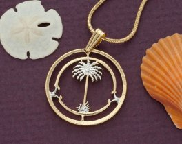 "Palm Tre Pendant and Necklace, British West Africa Coin Hand Cut, 14 K Gold and Rhodium plated, 7/8"" in Diameter, ( # 42 )"