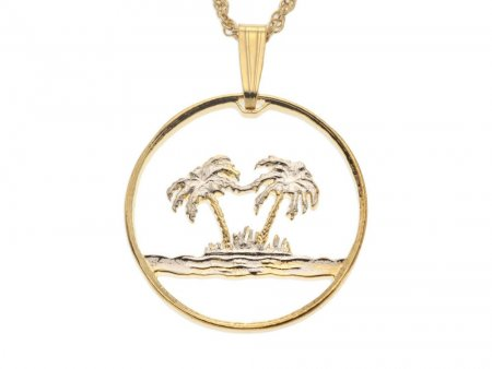 "Palm Tree Pendant and Necklace, Oman Coin Hand Cut, 14 Karat Gold and Rhodium Plated, 7/8"" in Diameter, ( # 582 )"