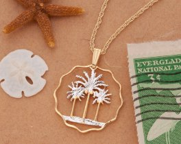 Palm Trees Pendant & necklace, Hand Pierced Iraq Coin ( # 433 )