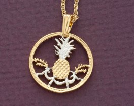 Pinapple Pendant and Necklace, Bahamas 5 Cents Coin Hand cut, Tropical Pendant, Jewelry For Woman, Bahamas Coin Jewelry, ( # 15 )