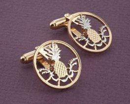 "Pineapple Cuff Links, Bahama Coin Cuff Links, Bahama Coin Jewelry, World Coin Jewelry, 7/8"" diameter, ( # 15C )"