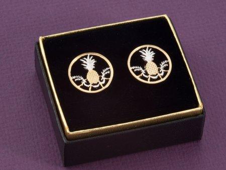 "Pineapple Cuff Links, Bahama Coin Cuff Links, Bahama Coin Jewelry, World Coin Jewelry, 7/8"" diameter, ( # 15C )"