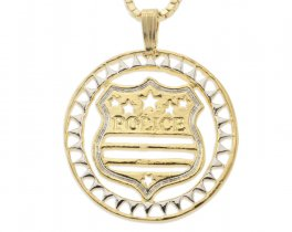 "Police Badge Pendant and Necklace, Hand Cut Police Medallion, 14 Karat Gold and Rhodium Plated, 1 1/8"" in Diameter, ( # 806 )"