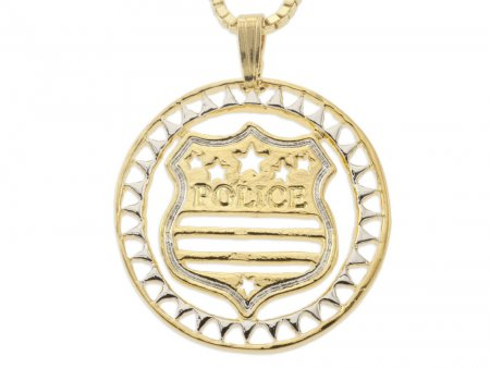 """Police Badge Pendant and Necklace, Hand Cut Police Medallion, 14 Karat Gold and Rhodium Plated, 1 1/8"""" in Diameter, ( # 806 )"""