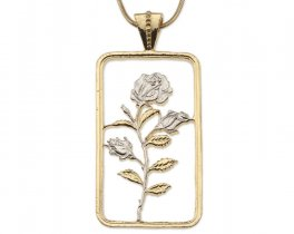 "Rose Pendant and Necklace, Hand cut medallion, Plated with 14 Karat and Rhodium, 1 3/4 "" long by 1"" wide, ( # 832 )"