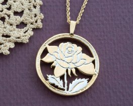 "Rose Pendant and Necklace, Rose Medallion Hand Cut, 14 Karat Gold and Rhodium plated, 1 1/8"" in Diameter, ( # 775 )"