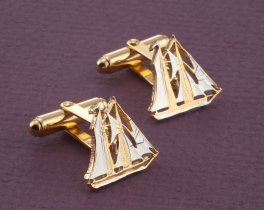 Sailboat Cuff Links, Nautical Cuff Links, Nautical Mens Gifts, Nautical Jewelry, Cayman Island Coin Jewelry, ( # 59C )