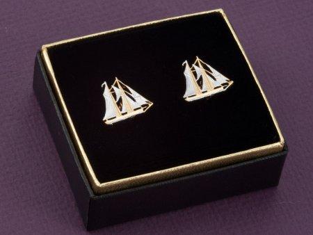 Sailboat Cuff Links, Nautical Cuff Links, Nautical Mens Gifts, Nautical Jewelry, Cayman Island Coin Jewelry, ( # 59C )