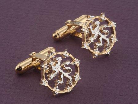 Scottish Lion Cuff Links, Scottish Coin Jewelry, Scotland Cuff Links, Lion Cuff Links, Scottish Jewelry, World Coin Jewelry, ( # 577BC )