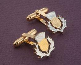 Scottish Thistle Cuff Links, Scottish Thistle Jewelry, Scotland Coin Cuff Links, Scottish Coin Jewelry, Scottish Gifts,  ( # 138BC )
