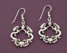 Silver Dragon Earrings, Dragon Earrings, Dragon Jewelry, Silver Dragon Jewelry, Mythical Earrings, Mythical Jewelry, Earrings, ( # 568BES )