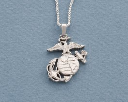 "Silver Marine Corp Pendant, Hand cut United States Marine challenge coin, Military Jewelry, Marine Corp Gifts, 1"" diameter, ( # 793S )"