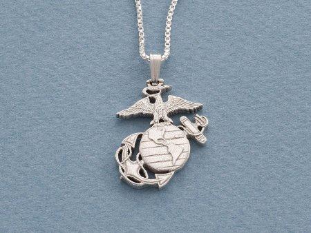 "Silver Marine Corp Pendant, Hand cut United States Marine challenge coin, Military Jewelry, Marine Corp Gifts, 1"" diameter, ( # 793S )"