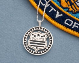 "Silver Police Badge Pendant, hand cut Police Badge medallion, Law enforcement Jewelry, 1 1/8"" diameter, ( # 806S )"