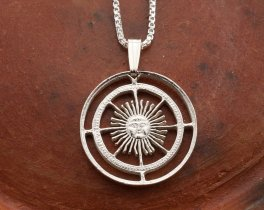 "Silver Sun Pendant and Necklace, Hand cut Argentina Sun coin pendant, Silver Sun Face Jewelry, Mythical Jewelry , 1"" in diameter, ( # 593S )"