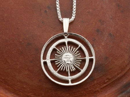 """Silver Sun Pendant and Necklace, Hand cut Argentina Sun coin pendant, Silver Sun Face Jewelry, Mythical Jewelry , 1"""" in diameter, ( # 593S )"""