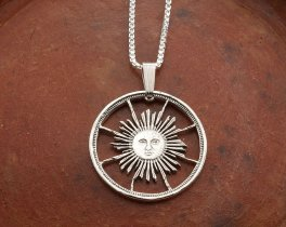 "Silver Sun Pendant and Necklace, Hand cut Peruvian Sunface coin, Sterling Silver Mystical Jewelry, 7/8"" in diameter, ( # 253S )"