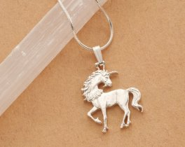 "Silver Unicorn Pendant and Necklace, Mythical Jewelry, Sterling Silver Unicorn Jewelry, Hand Cut Unicorn Coin, 1"" in diameter, ( # 484BS )"