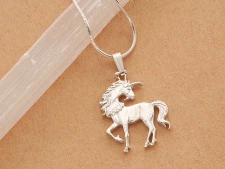 """Silver Unicorn Pendant and Necklace, Mythical Jewelry, Sterling Silver Unicorn Jewelry, Hand Cut Unicorn Coin, 1"""" in diameter, ( # 484BS )"""