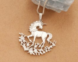 "Silver Unicorn Pendant and Necklace, Sterling Silver Unicorn Jewelry, Hand Cut Unicorn Coin Jewelry, 1 1/8"" in diameter, ( # 462S )"