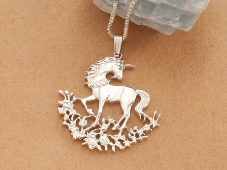 """Silver Unicorn Pendant and Necklace, Sterling Silver Unicorn Jewelry, Hand Cut Unicorn Coin Jewelry, 1 1/8"""" in diameter, ( # 462S )"""