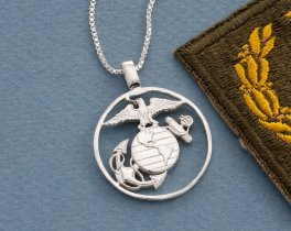 Silver United States Marine Corp Pendant, Hand cut Marine challenge coin pendant, United States Marine Jewelry, ( # 753S )