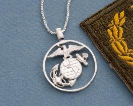 Silver United States Marine Corp Pendant, Hand cut Marine challenge coin pendant, United States Marine Jewelry, ( # 753S )