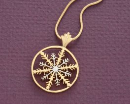 """Snowflake Pendant and Necklace, Snowflake Medallion Hand Cut, 14 Karat Gold and Rhodium Plated, 1 1/8"""" in Diameter, ( # 892 )"""