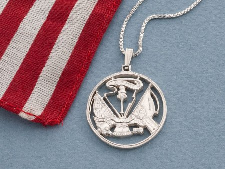 "Sterling Silver Army Pendant and Necklace, Hand cut United States Army challenge coin, Military Jewelry, 1"" in diameter, ( # 756S )"