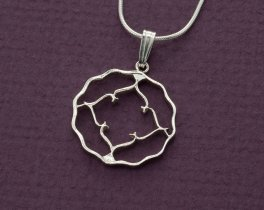 "Sterling Silver British Coin, Hand cut British India one anna Coin, Sterling Silver Pendant, 7/8"" in diameter, ( # 829S )"
