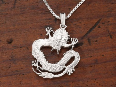 "Sterling Silver Chinese Dragon Pendant, Hand Cut Chinese Dragon Coin, Silver Dragon Necklace, 1"" in Diameter, ( # 72S )"