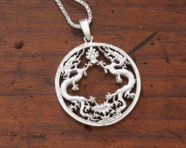 "Sterling Silver Dragon Pendant, Hand Cut Bhutan Dragon Coin, Mythical Dragon Jewelry, 1"" in Diameter, ( # 568S )"