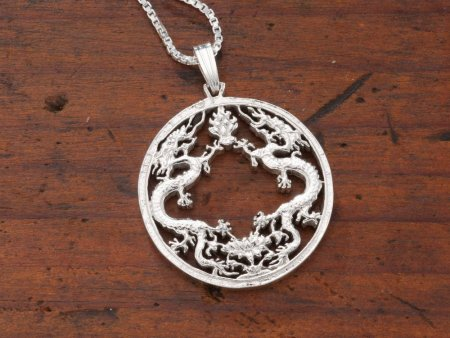 """Sterling Silver Dragon Pendant, Hand Cut Bhutan Dragon Coin, Mythical Dragon Jewelry, 1"""" in Diameter, ( # 568S )"""