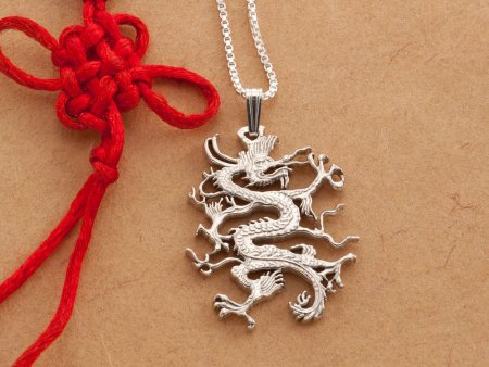 "Sterling Silver Dragon Pendant , Hand cut Chinese Dragon Coin pendant, Silver Dragon Jewelry, 1 1/8 "" in diameter, ( # 497S )"