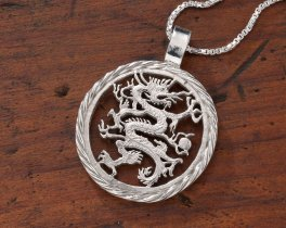 "Sterling SIlver Dragon Pendant, Hand Cut Liberia Five Dollar Dragon Coin, Mythical Dragon Jewelry, 1 1/8"" in Diameter, ( # 717S )"