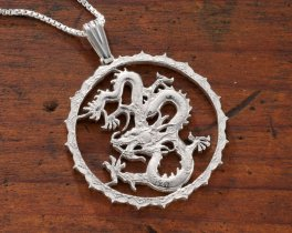 "Sterling Silver Dragon Pendant, Hand Cut Sierra Leone One Dollar Dragon Coin, Mythical Jewelry, 1 1/4"" in Diameter, ( # 706S )"